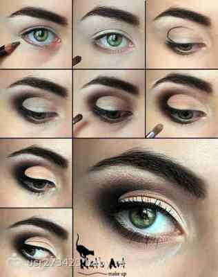 Макияж для серых глаз с нависшим веком и русых волос пошагово 3