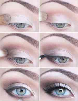 Макияж для серых глаз с нависшим веком и русых волос пошагово 99