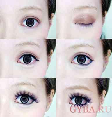 Как сделать кукольные глаза макияж фото Правильный макияж Мода Как быть самой красивой